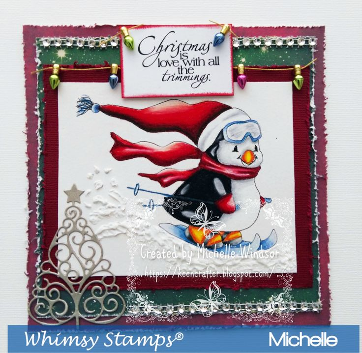 Penguin Skier From Whimsy Stamps