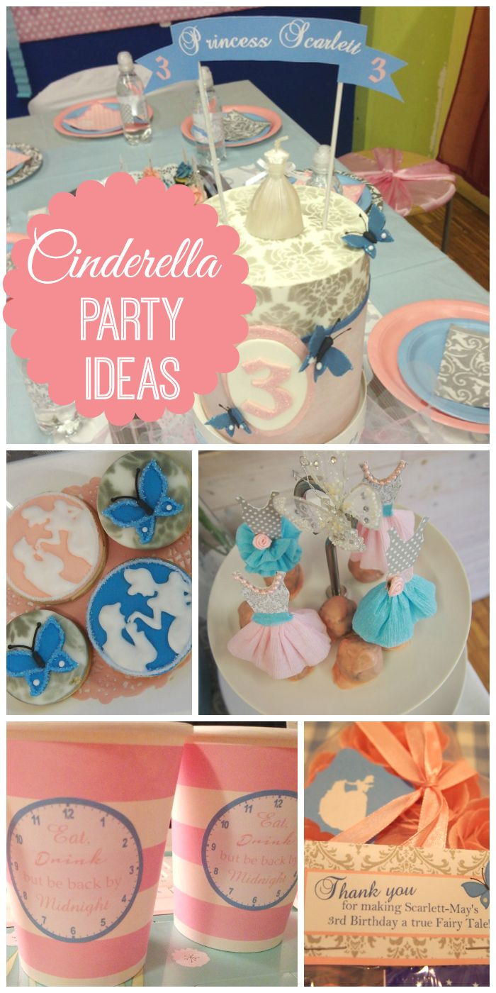 A pink and blue Cinderella themed girl birthday party with a Fairy Godmother visit, dancing and games!  See more party ideas at CatchMyParty.com!