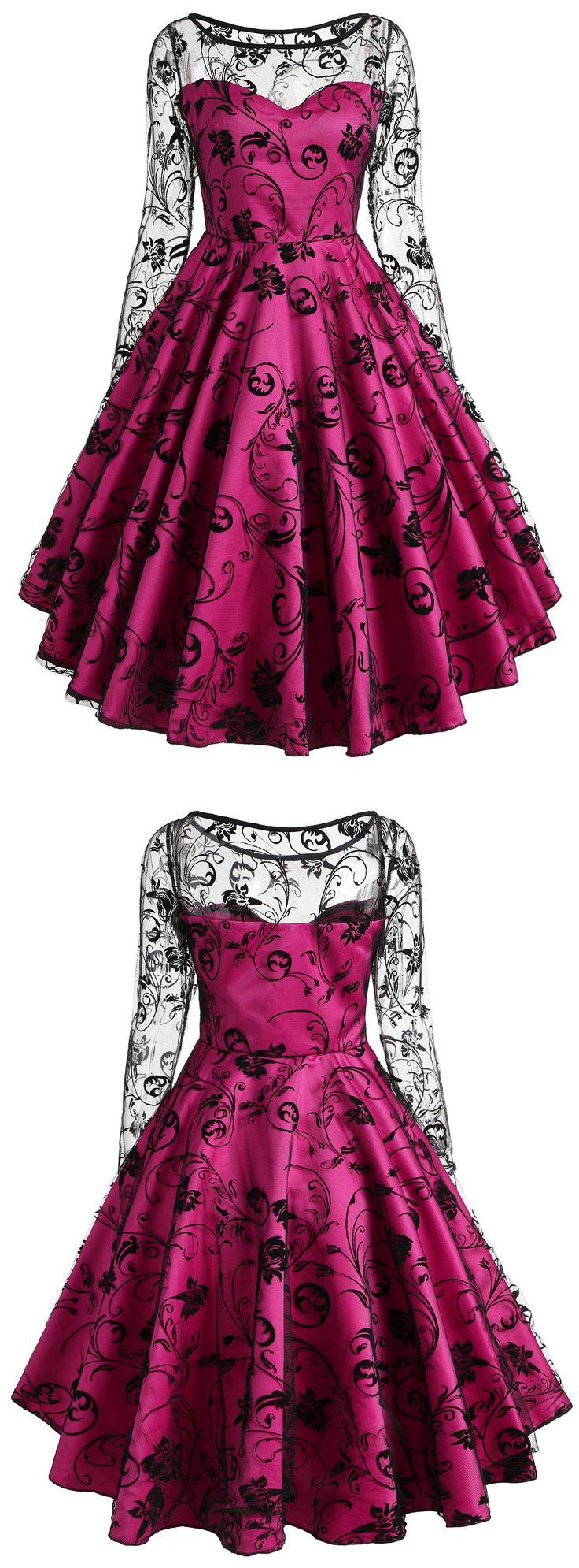Valentine Lace Overlay Vintage Dress | $17.72 + Free Shipping | #womensfashion #vintagedress #valentinesday