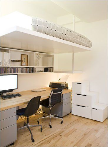 """From the New York Times, we found a clever idea that may just leave you on the edge of your seat. Or bed, that is. Kayt Brumder designed a lofted bed for her boyfriend that is """"effectively supported"""" by a beam and reachable by storage stairs to the right of the desk. Let's just hope that support beam is as sturdy as she claims it to be."""