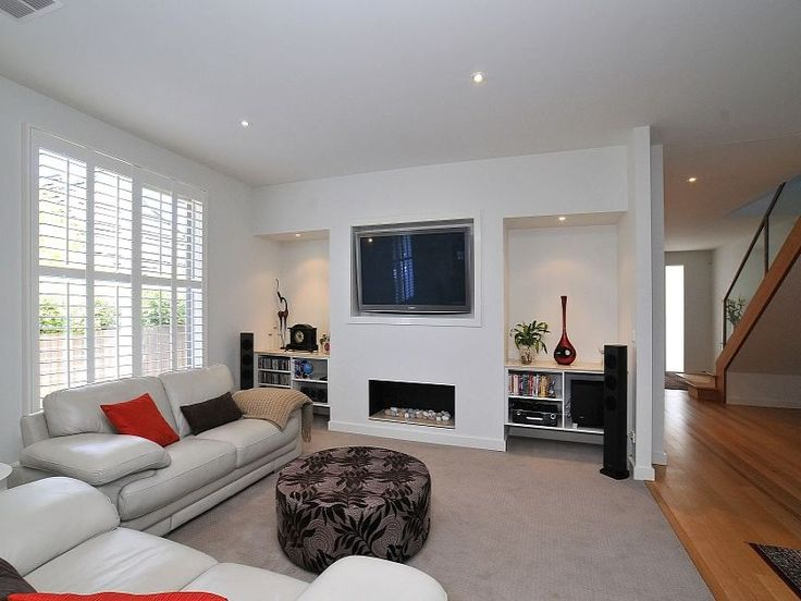 tv fireplace recessed shelves Nunawading weatherboard