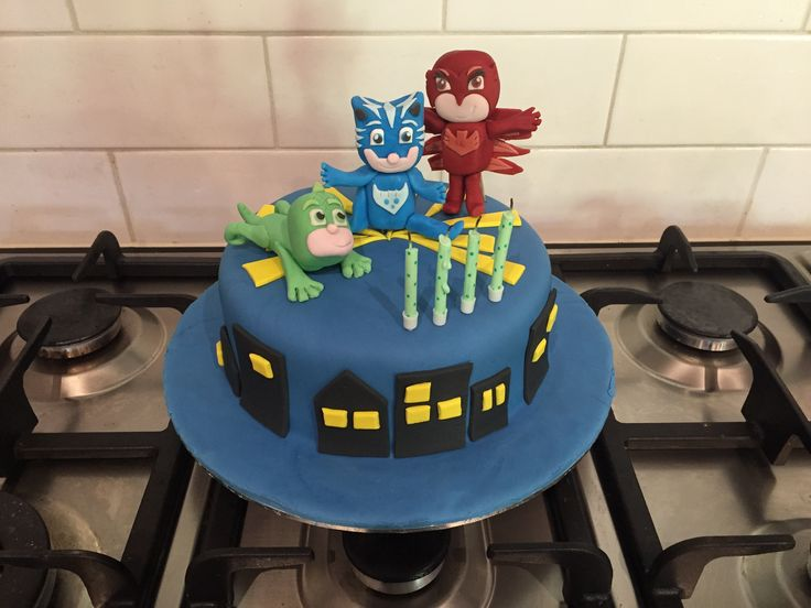 PJ Masks cake for Jacob's 4th birthday party. Cake made by us. Toppers made by my very talented friend Rachel.
