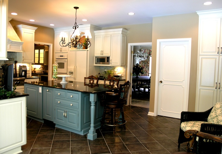 Blue Cabinets Dark Tile Floors Tile At An Angle Instead