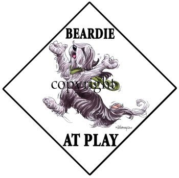 Bearded Collie - At Play Sign 3