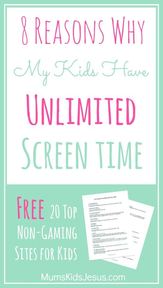 Electronics and internet issues have been my biggest overwhelm and frustration as a parent. Many times I've just wanted to throw all our devices out of the window. But I haven't! Click to read the 8 reasons why my kids now have unlimited screen time. And get my FREE 20 Top Non-Gaming Sites for Kids.