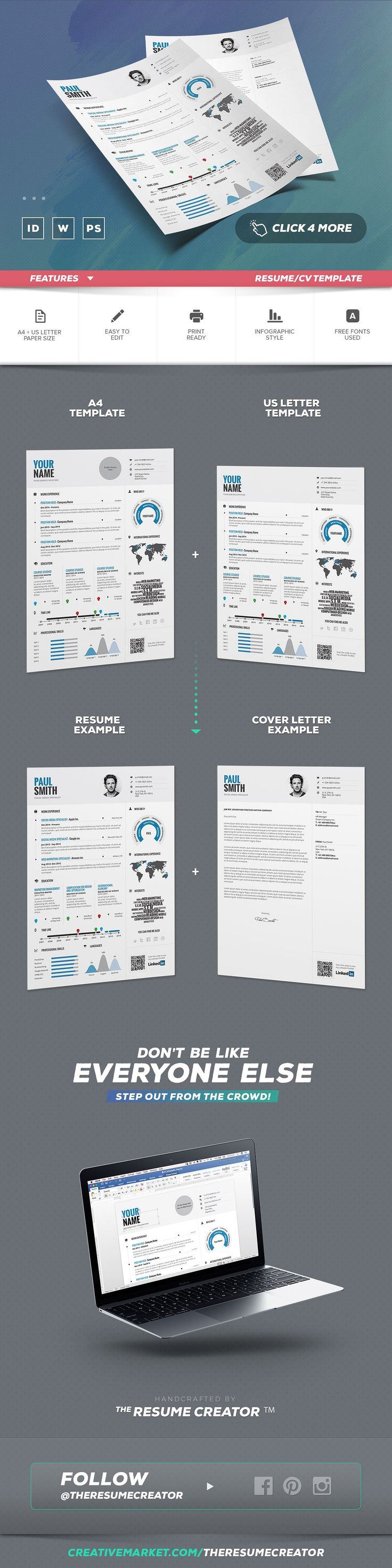 Infographic Resume/Cv Template Vol.1 by TheResumeCreator on @creativemarket