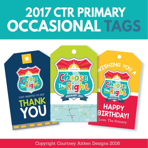 2017 Primary Theme Gift Tags! Birthday, Thank You, Thiinking of You, etc!
