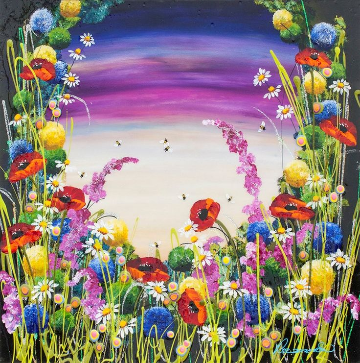 Honey Blossom loving the flowers and bubble bees with a truly stunning sky - great original artwork with high gloss finish from Rozanne Bell.