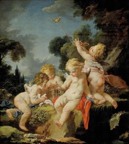 Putti with Birds, c. 1730-1733, Honolulu Academy of Arts | François Boucher