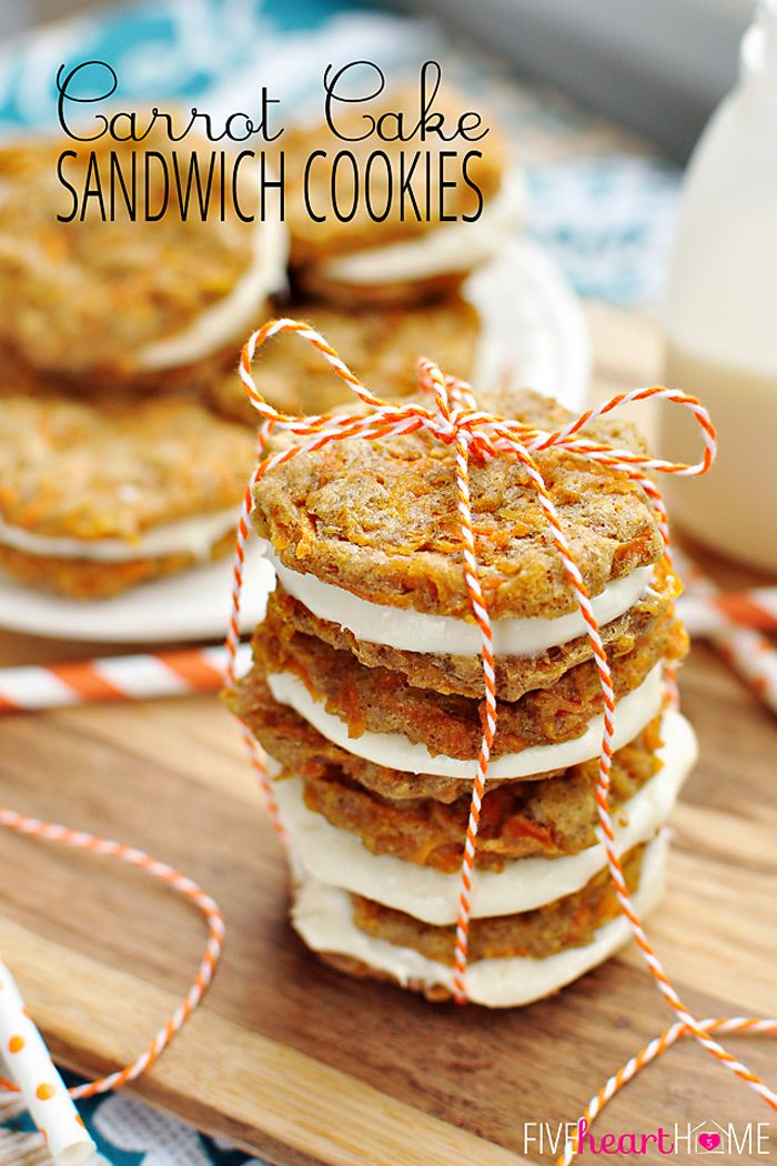 Carrot Cake Sandwich Cookies ~ mini carrot cake whoopie pies filled with cream cheese frosting make an easy, hand-held Easter dessert | Five...