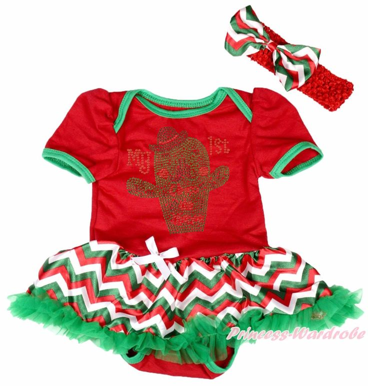 Синко де майо мой 1-ый блесток кактус красный боди шеврон девушки мексика детское платье NB-18M
