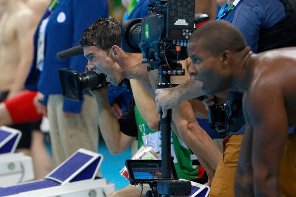 Michael Phelps Photos Photos - Michael Phelps of the United States reacts in the Final of the Men's 4 x 100m Freestyle Relay on Day 2 of the Rio 2016 Olympic Games at the Olympic Aquatics Stadium on August 7, 2016 in Rio de Janeiro, Brazil. - Swimming - Olympics: Day 2