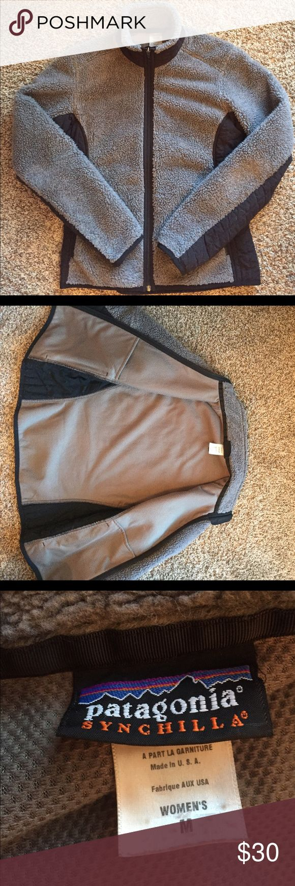 Patagonia Synchilla Jacket Medium 💯 % Polyester. Great Patagonia full zip jacket, previously loved. I JUST bought it used and it fits snug (medium) and I was looking for big/baggy. Nothing wrong with the jacket, just needs a new home! Patagonia Jackets & Coats