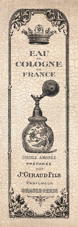 Vintage French Perfume Bottle label.                                                                                                                                                      More
