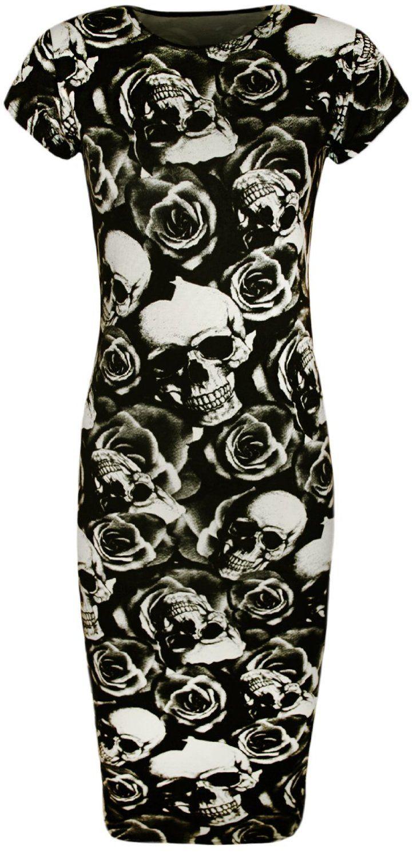 Amazon.com: PaperMoon Women's Skull Rose Print Short Sleeve Midi Dress