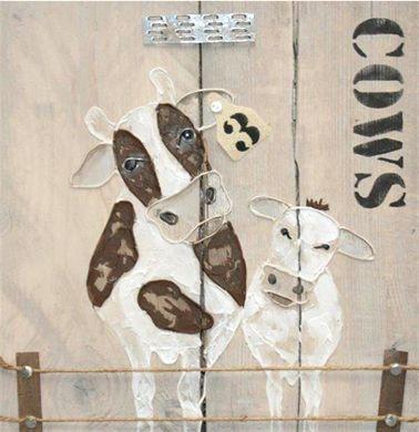 schilderij koe en kalf steigerhout 40 x 40 cm
