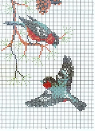 winter birds Cross stitch pattern