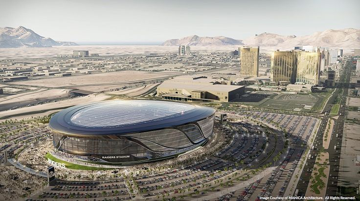 The plans show the stadium near the southern end of the Strip, the side Mandalay Bay is on.