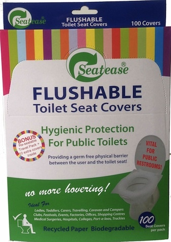 No need to hover over the toilet bowl!     You can now sit with ease, protected, with a hygienic, germ free, physical barrier between you and the toilet seat.  SeatEase are a must for all ages, especially women, the elderly, children, travellers, caravan and campers, festival and club goers and even better for the tradies using port-a- loos and truckies.  The budget buy packs come in packs of 110 covers with a resealable travel pack.