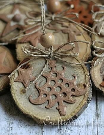 Ornaments branches and natural on pinterest for Wood slice craft ideas