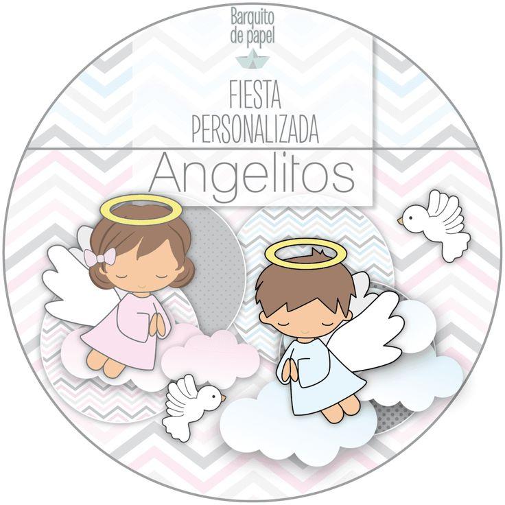 Kit Imprimible Personalizado + Candy Bar ANGELITOS BAUTISMO completo
