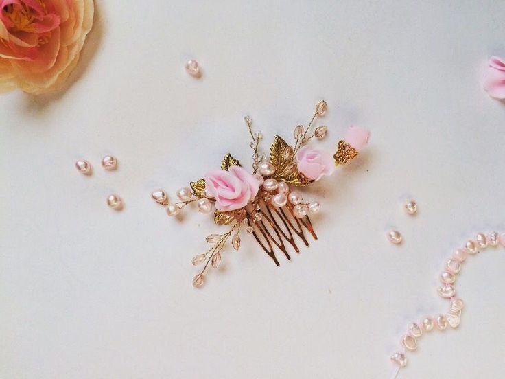 Купить Свадебный гребень - украшения ручной работы, украшение в прическу, свадебное украшение, украшение в волосы