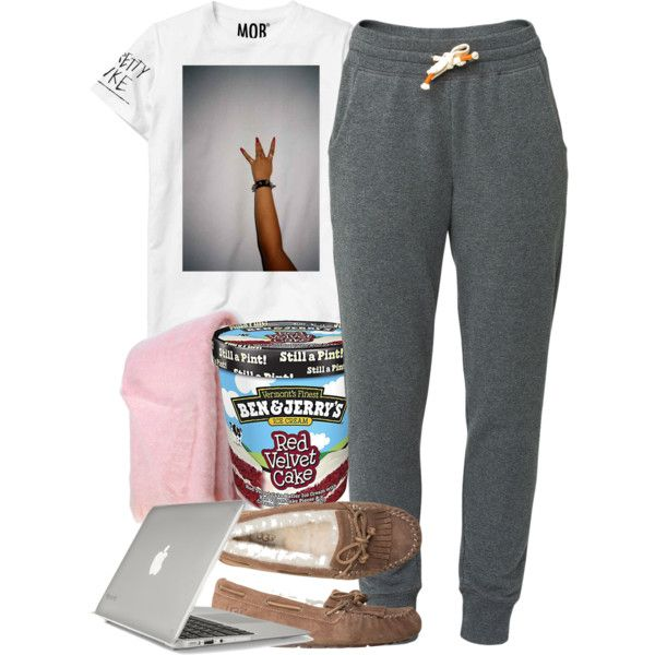 A fashion look from December 2014 featuring t shirts, cotton sweatpants and moccasin flats. Browse and shop related looks.