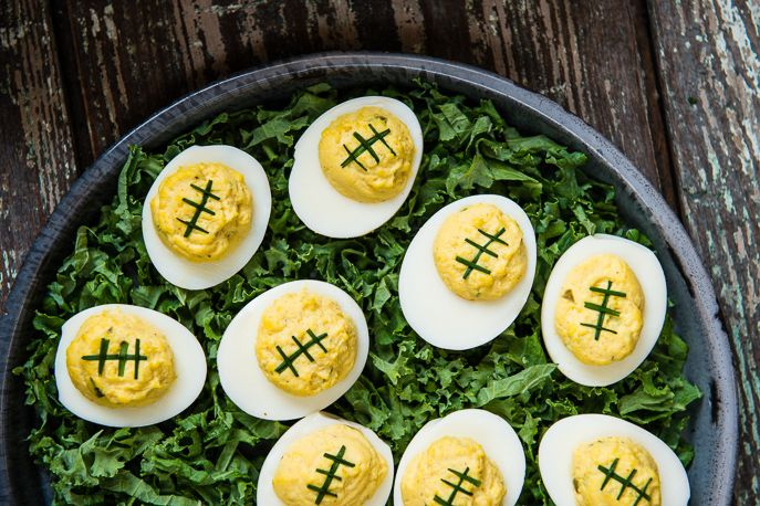 Football Deviled Eggs from Everyday Good Thinking, the official blog of @Hamilton Beach