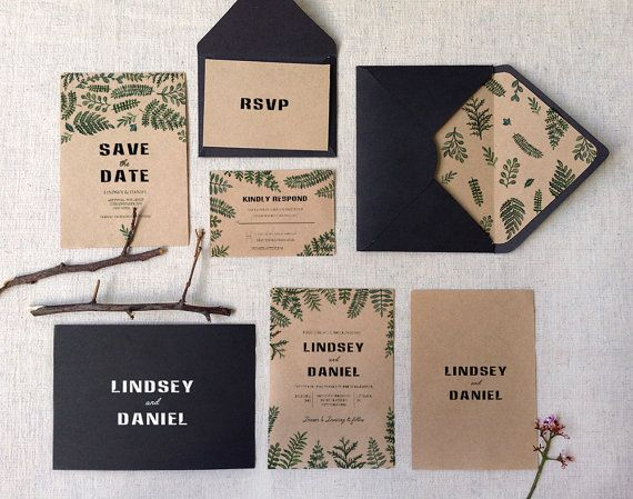 Woodsy rustic watercolor kraft Botanical Ferns Wedding