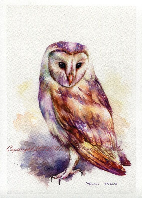 """PRINT – The Owl Watercolor painting 7.5 x 11""""  The artwork print reproduction of my Original Watercolor painting.  Printed area: 7.5 x 11 Paper"""