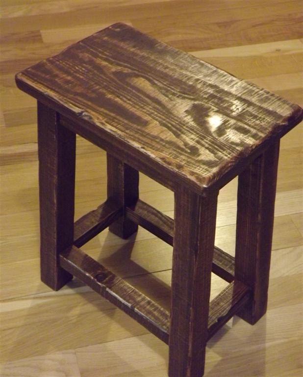 Rustic Reclaimed Wood Farmhouse Stool Sitting Stool