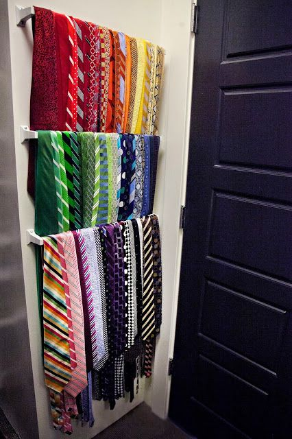 One shallow storage option for behind a door is to store all of those ties - not only does it allow a great view of all of the options, but you also get the added advantage of using a typically unused space