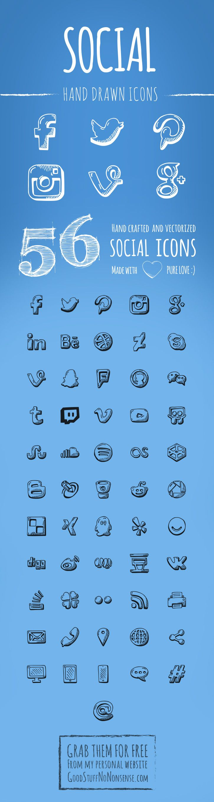 Hand drawn social icons to grab for free and use as you please.