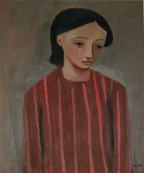 William Scott, Portrait of a Girl, c.1947, Oil on canvas, 61 × 50.8 cm / 24 × 20 in, Private collection