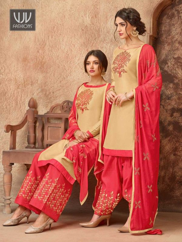 4b3e0a45aa Unique Beige Cotton Thread Embroidered Patiala Suit Look sensationally  awesome in such Beige color Cotton designer
