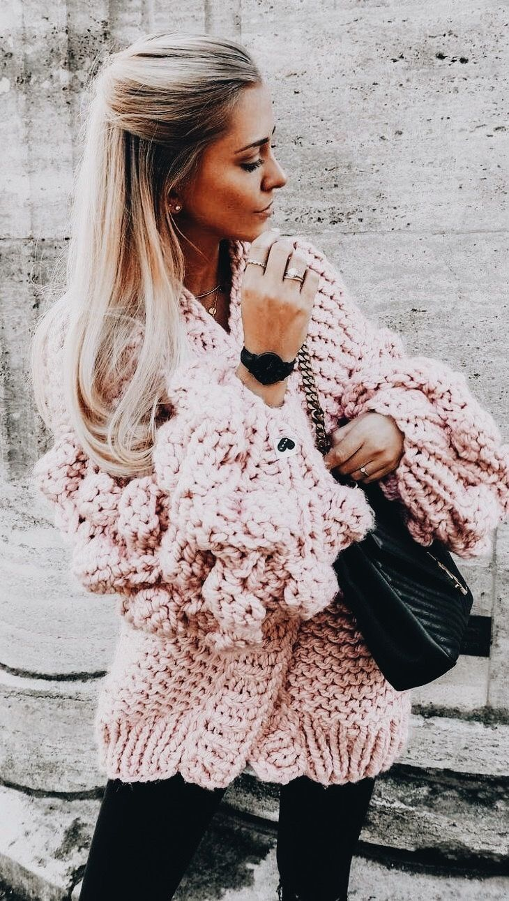 Pretty oversized pink cardigan with black.