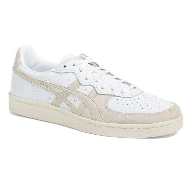 Men's Asics Onitsuka Tiger 'Game Set Match' Sneaker ($42) ❤ liked on Polyvore featuring men's fashion, men's shoes, men's sneakers, white leather, mens sneakers, mens white tennis shoes, men's vintage shoes, mens leather tennis shoes and mens tennis shoes