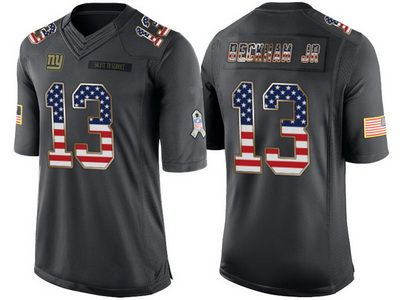 New York Giants #13 Odell Beckham Jr Anthracite Salute to Service USA Flag Fashion Jersey