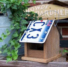 Wooden Bird Feeder, License Plate Bird Feeder, Rustic Reclaimed Natural Weathered Wood and Texas License Plate | shopswell