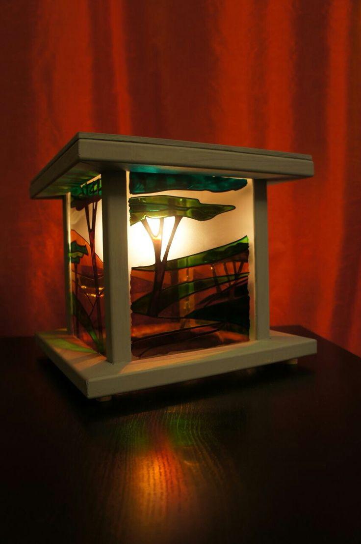 светильник, витражная роспись, ночник, арт объект