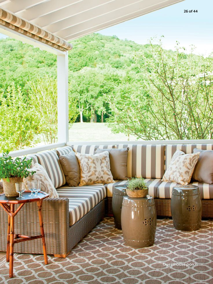 The Guest House Porch   Nashville Idea House At Fontanel   Southern Living  The Subtle Color Palette Of The Porch Blends With The Rustic Views  Surrouding The ...
