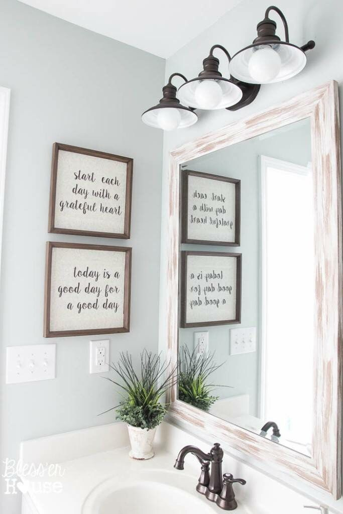 Prints, lighting, and bronze faucet