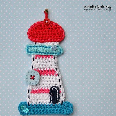 Crochet Lighthouse applique. òÓóCQ #crochet #applique  http://pinterest.com/CoronaQueen/crochet-applique-corona