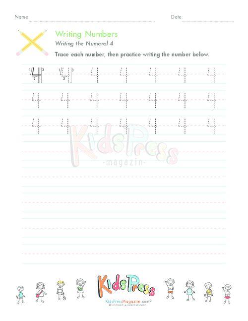 Writing Numbers: 4 - KidsPressMagazine.com #writing #printing #tracing #numbers #4