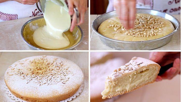 TORTA DELLA NONNA FATTA IN CASA RICETTA FACILE - Homemade Grandma's Cake Easy Recipe  ● INGREDIENTI TORTA DELLA NONNA ●  PER LA CREMA 750ml di latte buccia di limone 3 uova 6 cucchiai di zucchero 6 cucchiai di farina  PER LA PASTA FROLLA 3 uova 150g di zucchero 120g di Olio di girasole 1/2 bustina di lievito vanigliato 500g di farina  PER GUARNIRE 40g di pinoli zucchero a velo