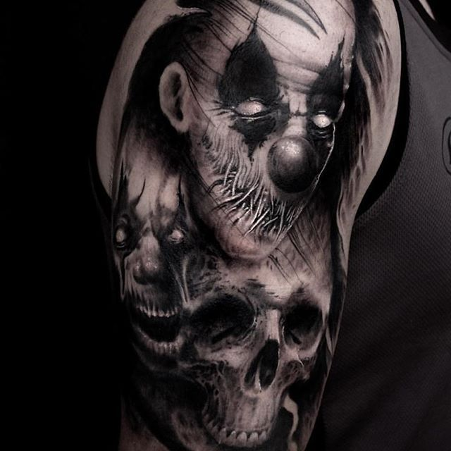 Image result for evil clown tattoos