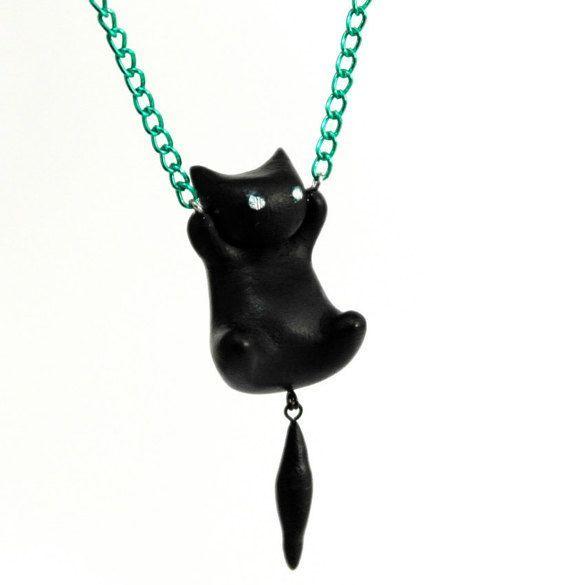 Black cat miniature pendant long necklace, polymer clay kitty cat, miniature kawaii cat, chibi pendant miniature kitten