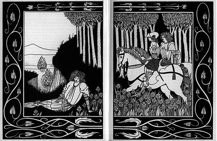 How King Mark and Sir Dinadan Heard Sir Palomides Making Great Sorrow and Mourning for La Beale Isoud | Aubrey Beardsley