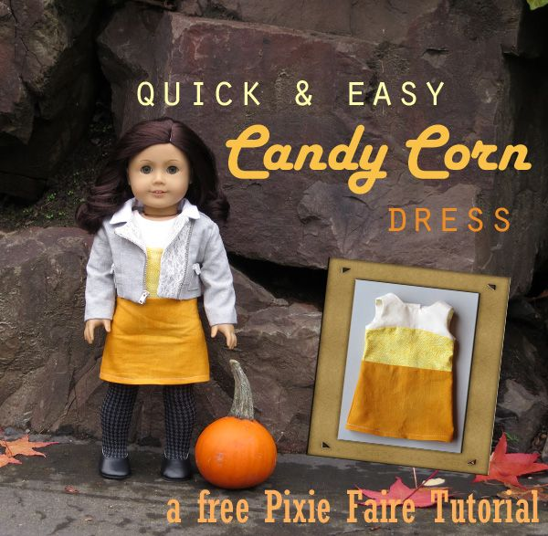 "Make this cute Candy Corn dress for your 18"" doll using the free LJC T shirt pattern!"