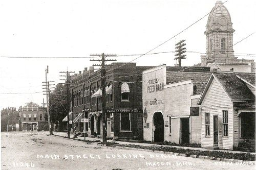 Mason MI - 1910 - View looking north from Oak St.